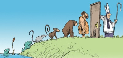 Non Sequitur by Wiley Miller 2014-07-31: The Evolution of Sentience