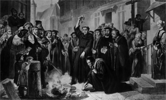 Martin Luther burning the Papal bull, by Friedrich Martersteig