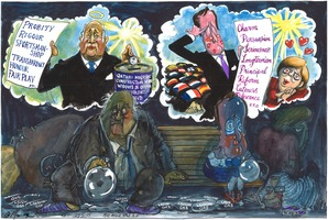 Martin Rowson 2015-05-29 on Sepp Blatter and David Cameron