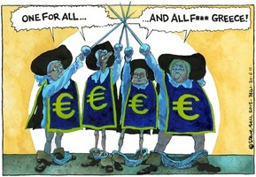 Steve Bell 2015-06-30: One for all ... and all f*** Greece!