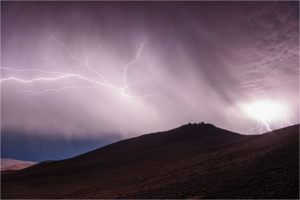 Thunderstorm over VLT on Cerro Paranal