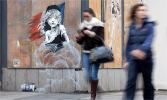 Banksy: Les Misérables girl with tears