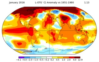 January 2016 land and ocean temperature anomalies