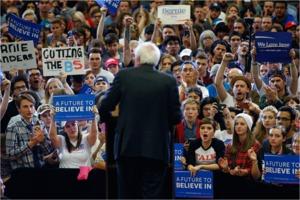 Bernie Sanders addresses crowd