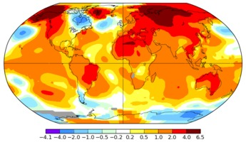 April 2016 worldwide temperatures