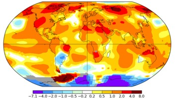 June 2016 global temperature anomalies