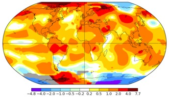 Global temperature anomalies in July 2016