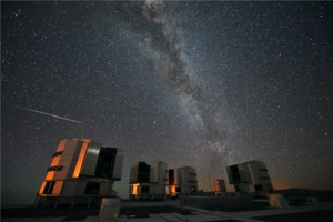 Milky Way and Perseids over the VLT