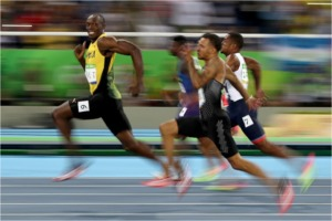 Usain Bolt winning