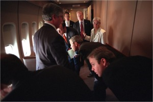 Aboard Air Force One on 2001-09-11