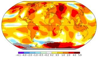 Global temperature anomalies in August 2016