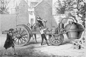 1770 engraving of a steam engine crushing a wall