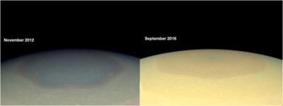 Saturn's north pole colour change