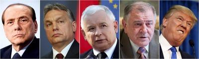 Silvio Berlusconi, Viktor Orbán, Jarosław Kaczyński, Vladimír Mečiar, Donald Trump