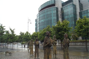 Famine sculpture at the International Financial Services Centre Dublin