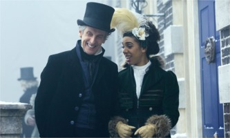 Peter Capaldi as Dr Who and Pearl Mackie as Bill Potts