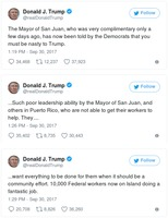 Donald Trump Tweets on Puerto Rico 2017-09-30