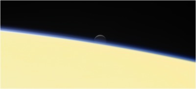 Enceladus setting behind Saturn 2017-09-13