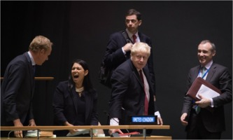 Cabinet ministers Priti Patel and Boris Johnson