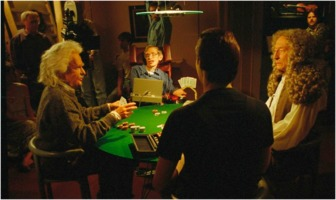 """Stephen Hawking makes a cameo in a 1993 episode of """"Star Trek: The Next Generation"""" to play poker against actors dressed as Isaac Newton and Albert Einstein"""