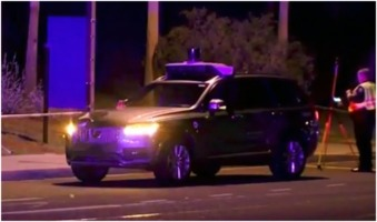 Uber SUV after killing pedestrian in Tempe, AZ