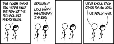 Randall Munroe: xkcd 1981: Rickrolling Anniversary