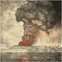 1883 eruption of Krakatoa lithograph