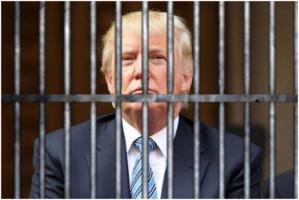 Donald Trump behind prism bars