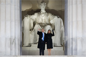 Donald and Melania Trump at the Lincoln Memorial in January 2017