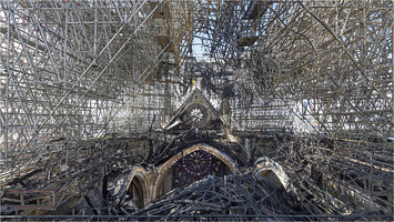 Burnt roof of Notre-Dame de Paris